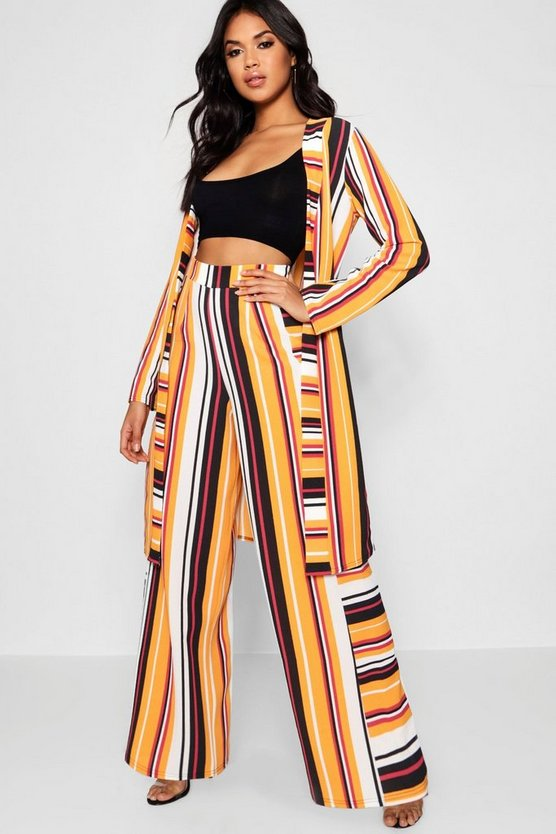 Mustard Stripe Wide Leg Trouser