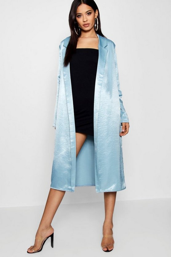 Womens Blue Satin Duster