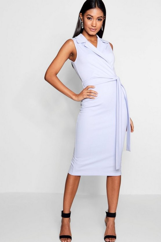 Collared Belted Midi Dress