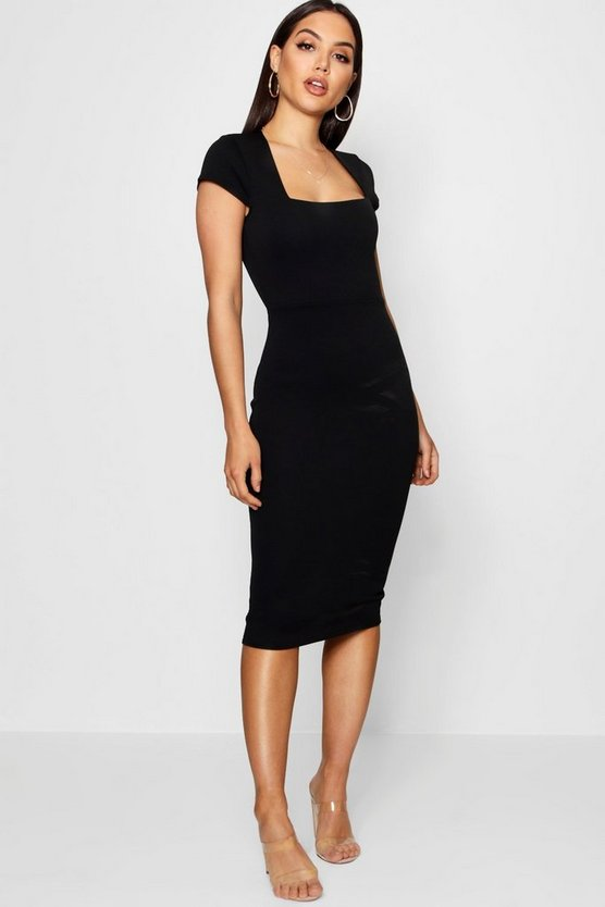 Womens Black Square Neck Midi Dress