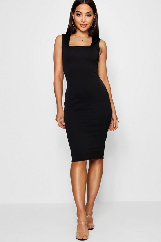 Womens Black Square Neck Sleeveless Midi Dress