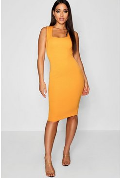 Womens Mustard Square Neck Sleeveless Midi Dress