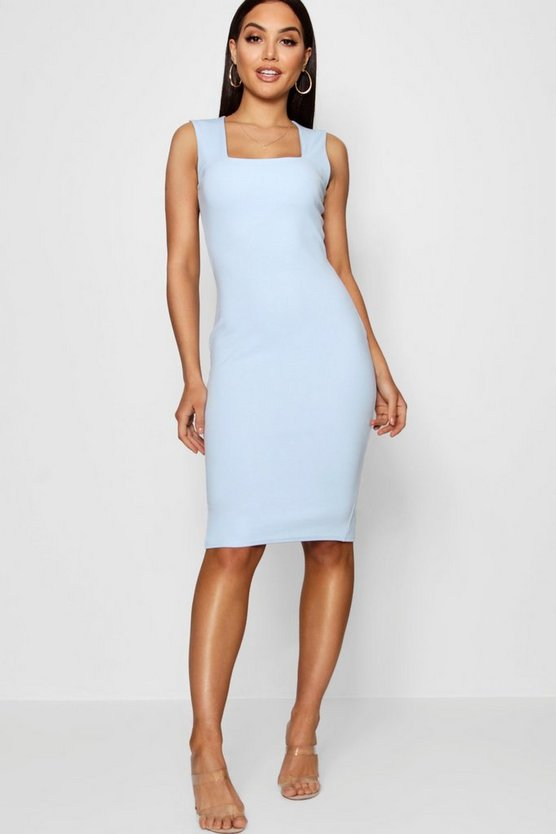 Square Neck Sleeveless Midi Dress