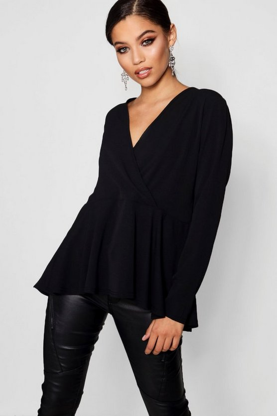 Womens Black Woven Wrap Over Blouse
