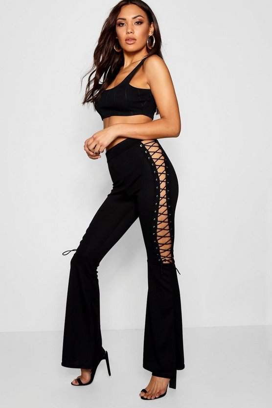 Lace Up Side Flared Trousers
