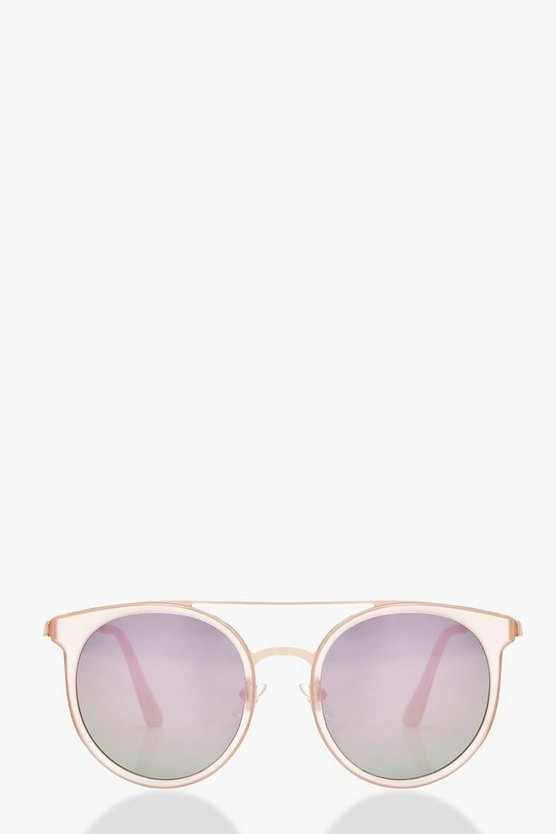 Pink Mirrored Lens Brow Bar Sunglasses