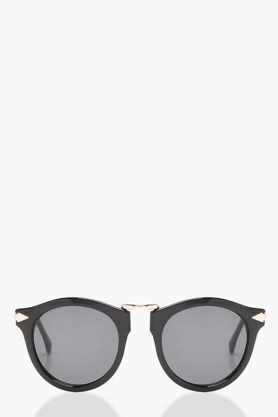 Contrast Gold Round Sunglasses