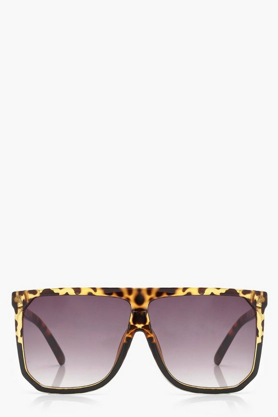 Womens Brown Flat Top Oversized Sunglasses