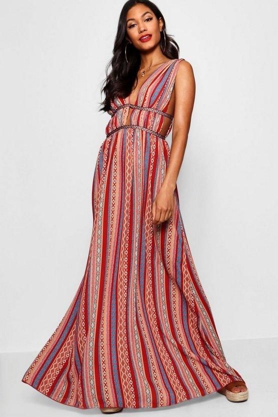 Justine Plunge Ribbon Trim Maxi Dress