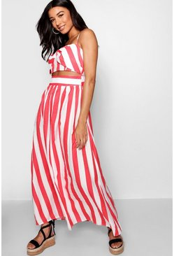 Womens Red Striped Bow Floor Sweeping Maxi Dress