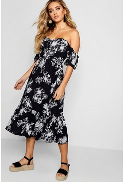 Womens Black Lace Up Off The Shoulder Maxi Dress