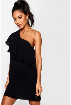 Womens Black Off The Shoulder Ruffle Detail Shift Dress