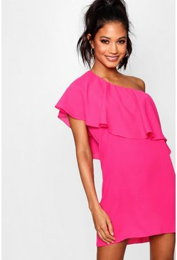 Womens Hot pink Off The Shoulder Ruffle Detail Shift Dress