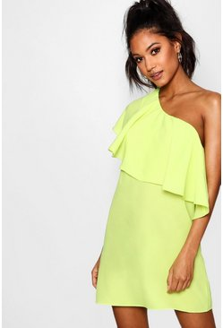 Womens Lime Off The Shoulder Ruffle Detail Shift Dress
