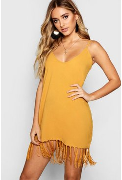 Womens Desert sand Tassel Trim Bohemian Cami Slip Dress