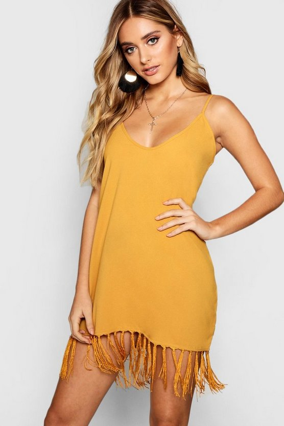 Tassel Trim Bohemian Cami Slip Dress