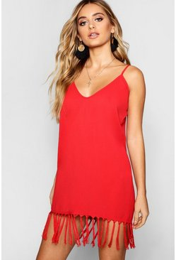 Red Tassel Trim Bohemian Cami Slip Dress