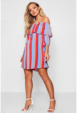 Womens Horizon blue Off The Shoulder Shift Dress