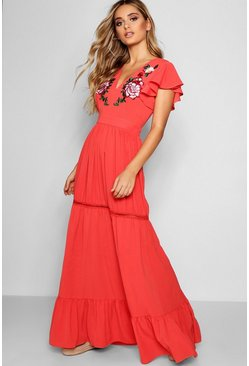 Womens Coral Embroidered Ruffle Hem Maxi Dress
