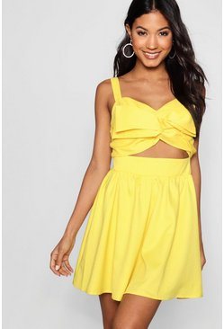 Womens Yellow Leigh Large Twist Knot Front Skater Dress