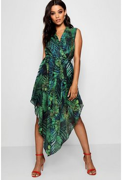 Womens Leaf green Plunge Palm Print Hanky Hem Shirt Dress
