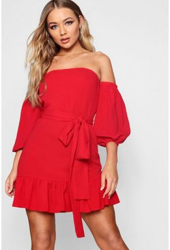 Womens Tomato Off The Shoulder Ruffle Tie Waist Dress