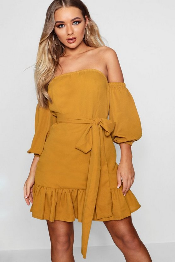 Off The Shoulder Ruffle Tie Waist Dress