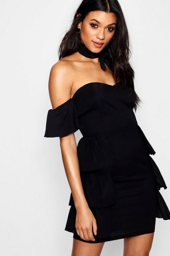 Off The Shoulder Ruffle Detail Mini Dress