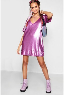 Womens Lilac Plunge Front All Over Sequin Shift Dress