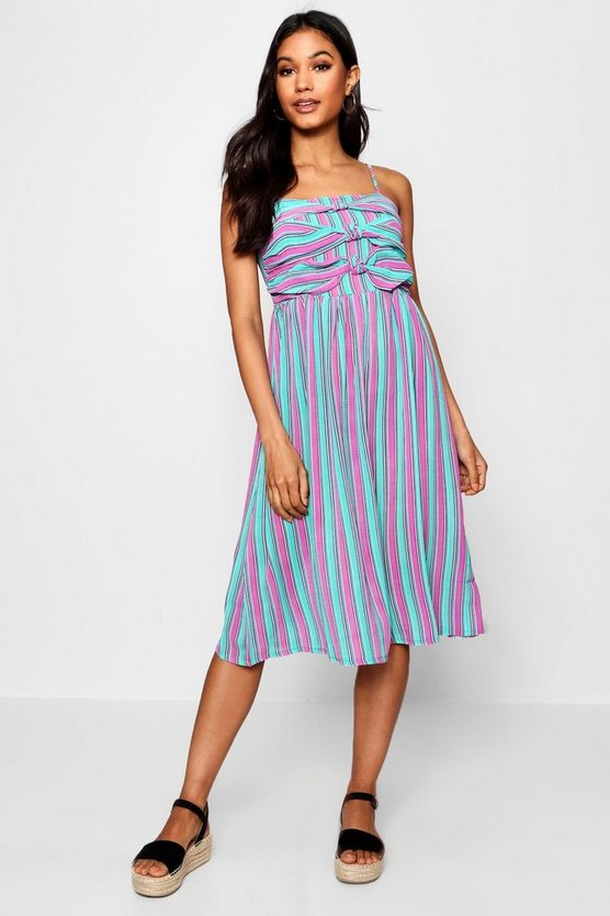 Womens Jade Triple Knot Striped Cami Skater Dress
