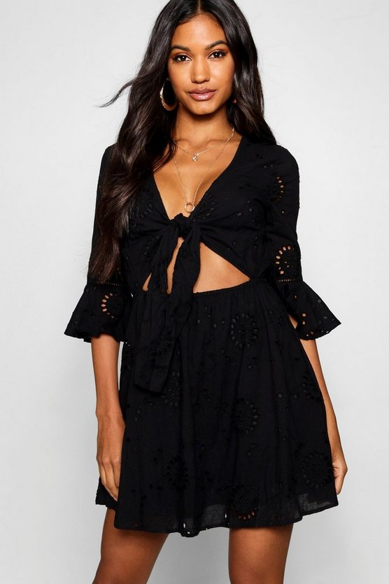 Womens Black Knot Front Broderie Anglaise Skater Dress
