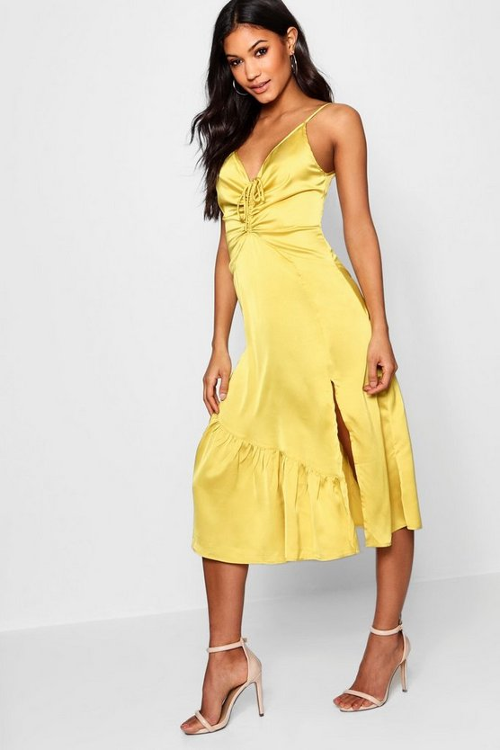 Ruched Split Front Midi Slip Dress