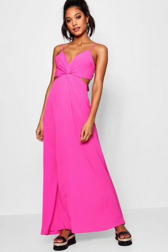 Knot Front Tie Back Maxi Dress