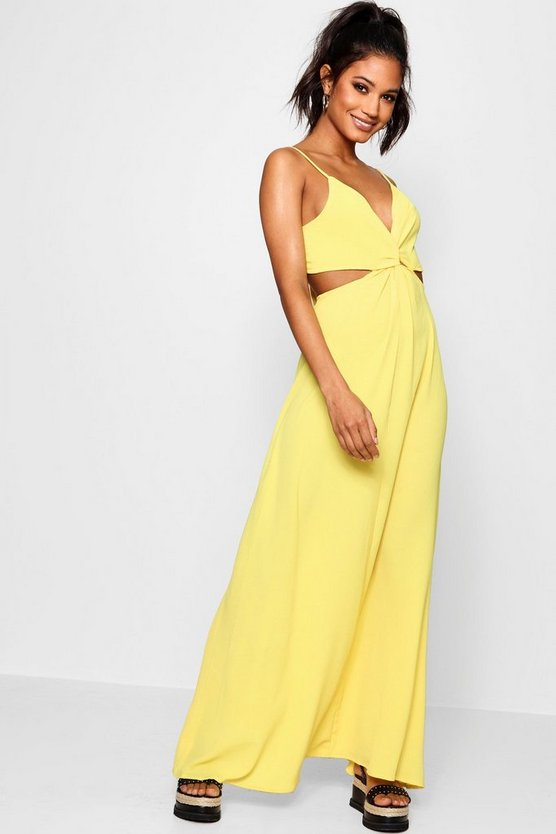 Womens Yellow Knot Front Tie Back Maxi Dress