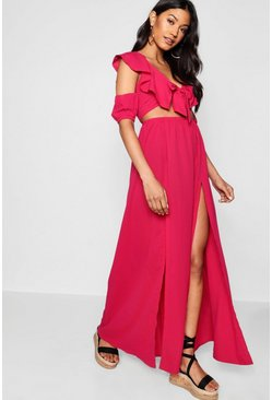 Womens Hot pink Knot Front Double Split Maxi Dress