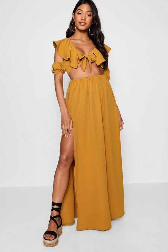 Knot Front Double Split Maxi Dress