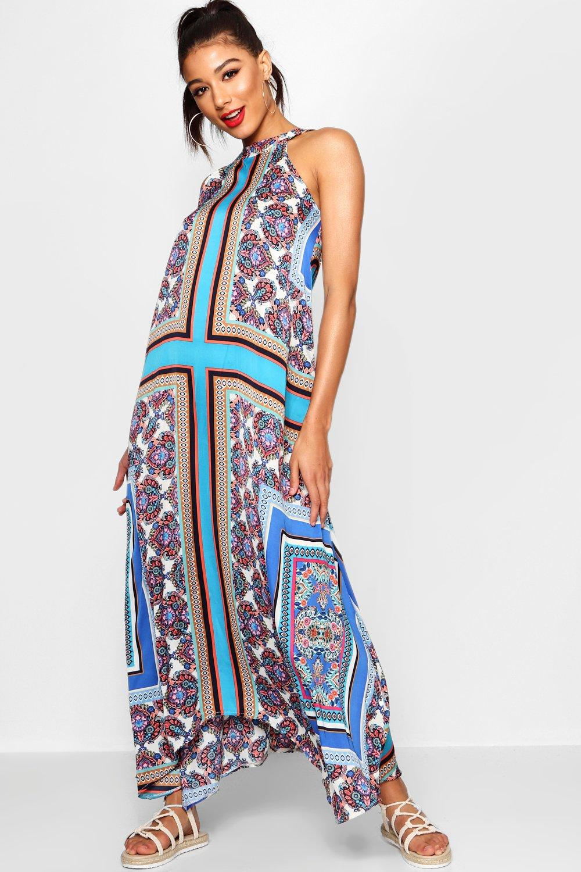 70s Dresses – Disco Dress, Hippie Dress, Wrap Dress Lo Bohemian Scarf Print High Neck Hanky Hem Maxi Dress  AT vintagedancer.com