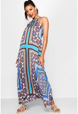 Womens Horizon blue Lo Bohemian Scarf Print High Neck Hanky Hem Maxi Dress