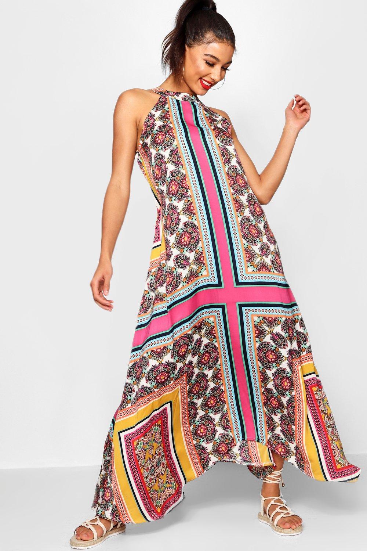 70s Dresses – Disco Dress, Hippie Dress, Wrap Dress Lo Bohemian Scarf Print High Neck Hanky Hem Maxi Dress $40.00 AT vintagedancer.com