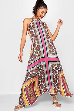 70s Dresses – Disco Dresses, Hippie Dresses, Wrap Dresses Lo Bohemian Scarf Print High Neck Hanky Hem Maxi Dress $50.00 AT vintagedancer.com