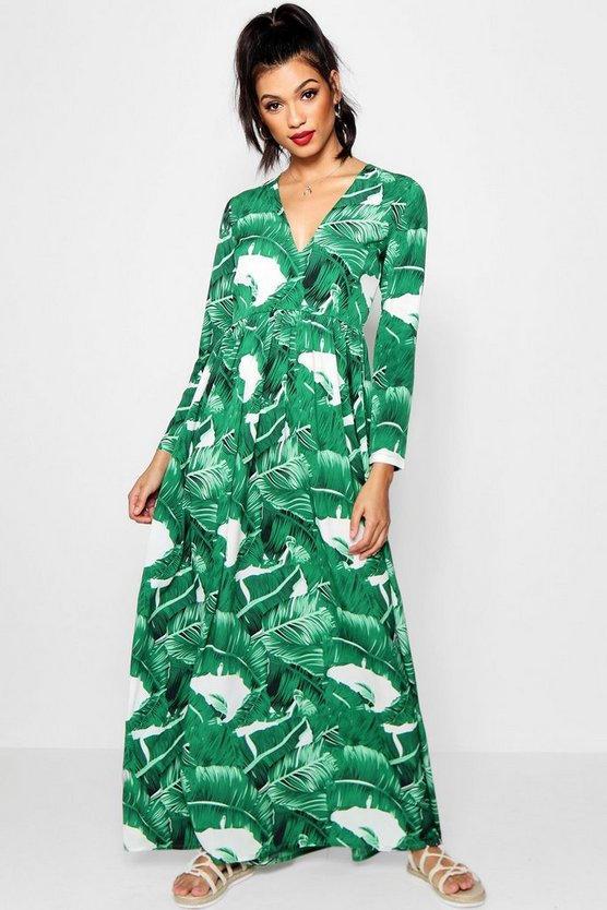 Floor Sweeping Palm Print Maxi Dress