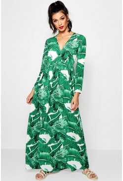 Womens Leaf green Floor Sweeping Palm Print Maxi Dress
