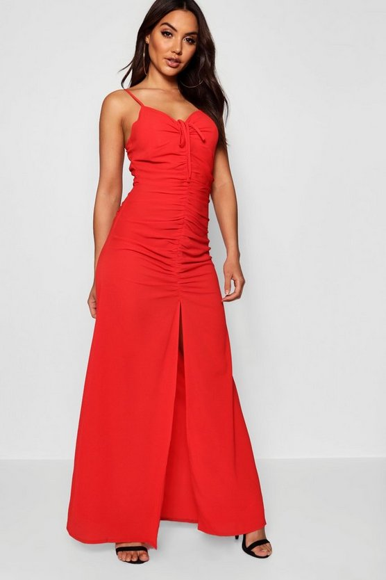 Kyla Ruched Front & Back Strappy Maxi Dress