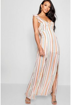 Womens Leaf green Sage Metallic Stripe Double Split Maxi Dress