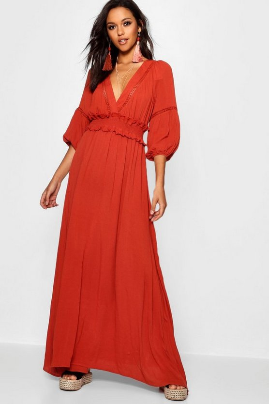 Shirred Waist Open Back Boho Midi Dress