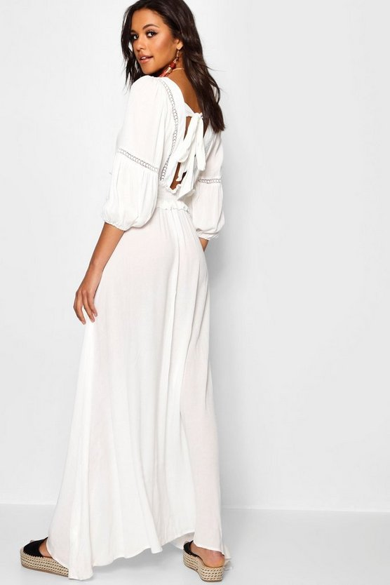 Womens Shirred Waist Open Back Boho Midi Dress
