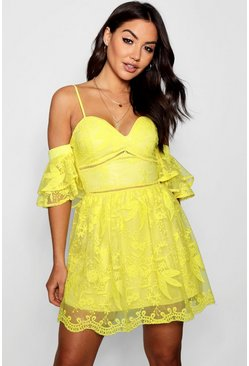 Womens Yellow Sally Sweetheart Lace Skater Dress