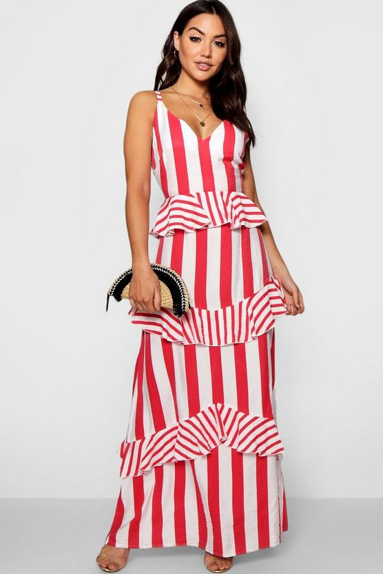 Womens Red Lara Ruffle Detail Striped Maxi Dress