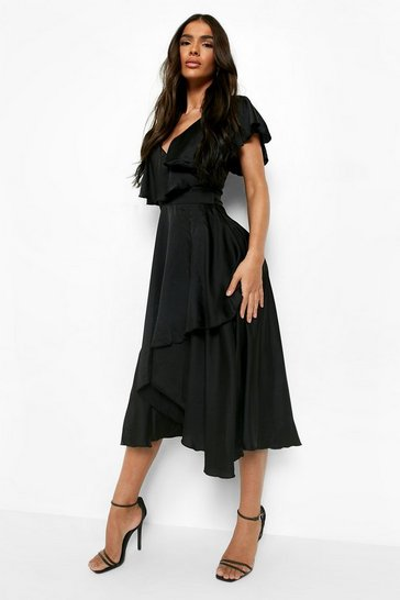Womens Black Satin Wrap Detail Skater Dress