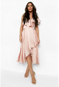 Rose Satin Ruffle Wrap Detail Skater Dress